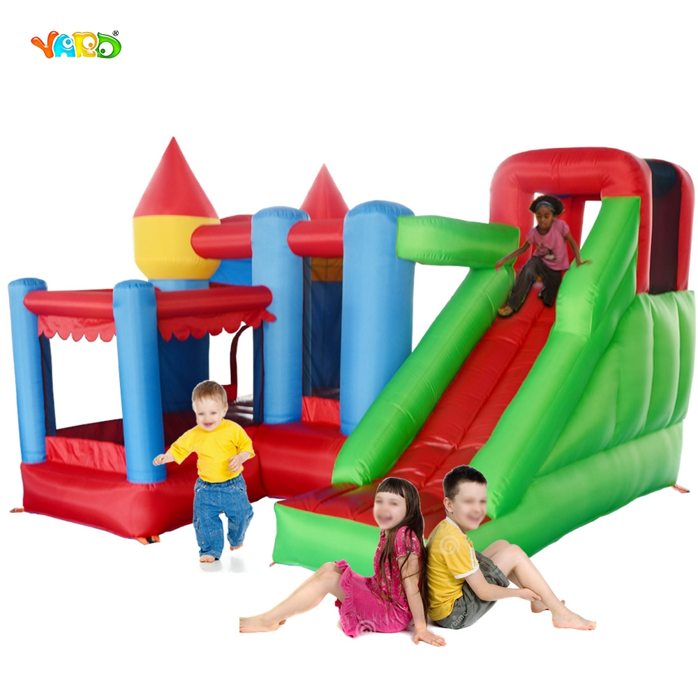 YARD Inflatable Bouncy Castle Combo with Slide Ball Pit Home Use Trampoline Park Inflatable Bounce House Castle for Kids Party 6 5ft diameter inflatable beach ball helium balloon for advertisement
