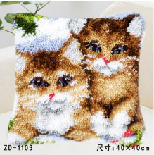 "Travesseiro ""do it yourself"" método de costura kit trava kit tapete gancho dos desenhos animados Dois gatinhos Unfinshed/bordado padrão tapete(China)"