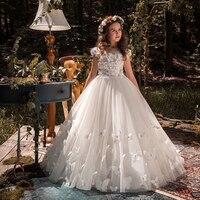 Лидер продаж, для вечерние девочек и свадьбу, белое платье с цветочным узором для девочек, платье для первого причастия