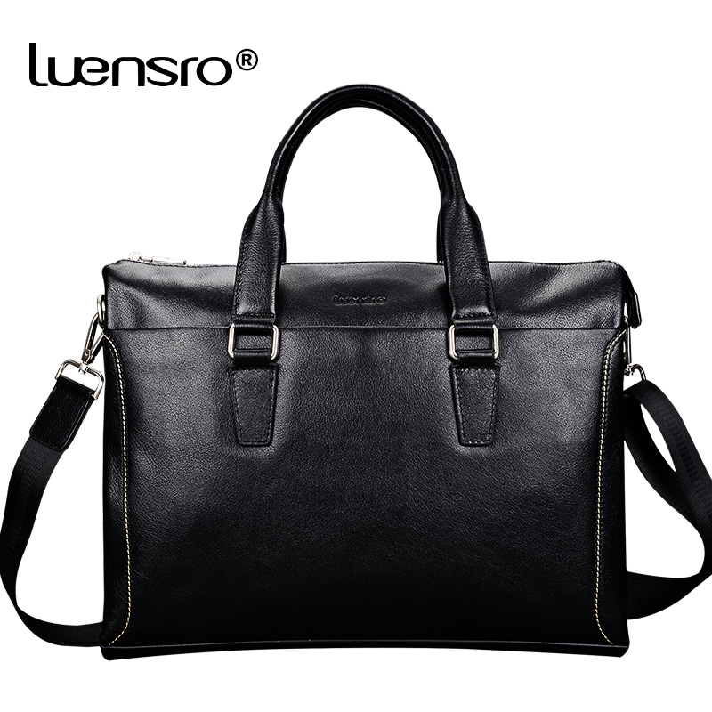 LUENSRO 100 Natural Cowskin Men Briefcase Genuine Leather Men s Briefcase 14 Inch Laptop Bag Male