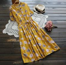 Color flowers print dandelion v-neck short sleeve Drawstring long dress mori girl  2124