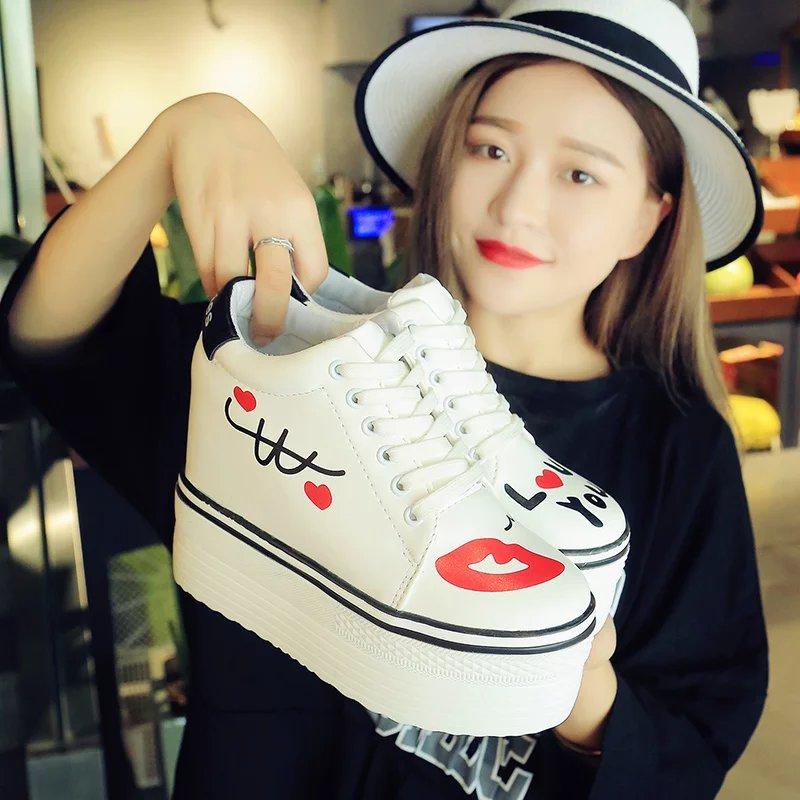2017 Nueva Impresión de la Te de Las Mujeres Enredaderas Zapatos de Plataforma P