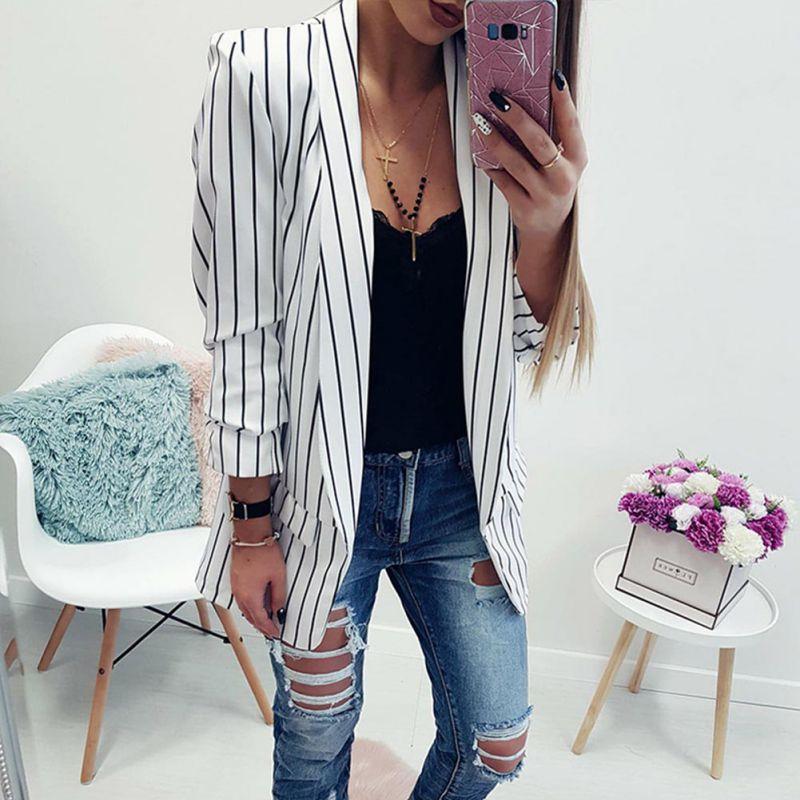 Office Lady Formal Jackets Open Front Ladies Blazer Coat Women Autumn Long Sleeve Slim Fit Fashion Casual Blazers