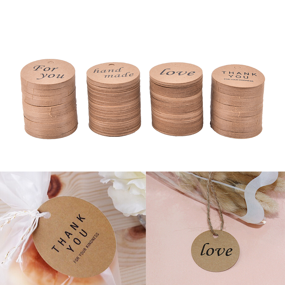 Party Diy Decorations 100pcs Diy Kraft Paper Tags Handmade&thank You&for You&love Head Label Luggage Wedding Party Note Tag Hang Tag Kraft Gifts