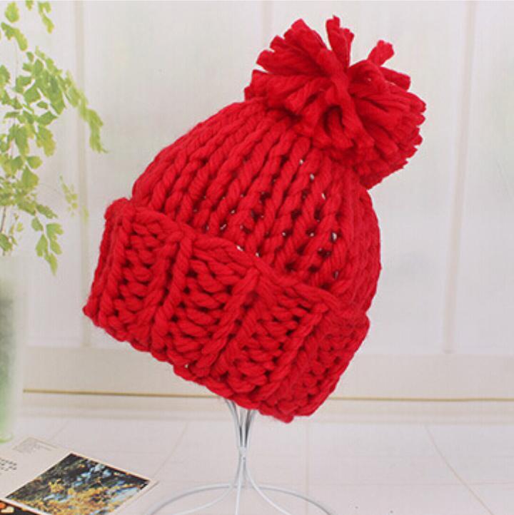 Ski Hat Skullies Women Stretch Knit Hats Solid Messy Bun Ponytail Beanie Holey Girls Warm Hats Single Pom Winter Warm Beanies