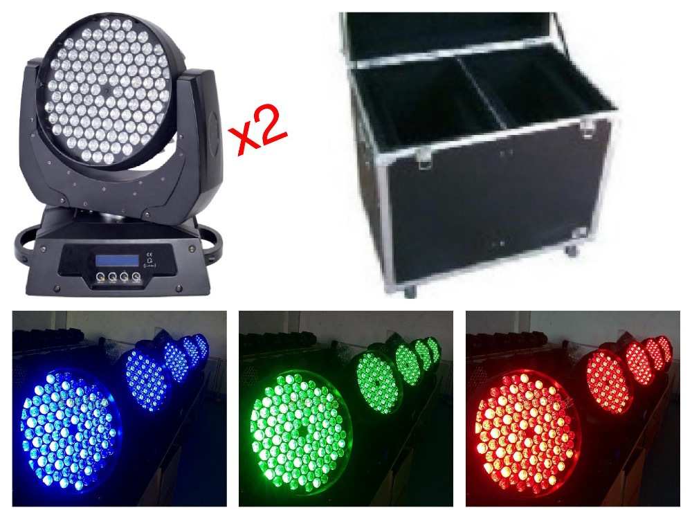 2pcs+flightcase, Zoom led moving head wash 108x3W RGBW light stage lights disco club bar nightclub concert wedding party dj factory price 4pcs led moving head zoom wash light 36x10w rgbw 4 in1 stage night club disco bar uplighting fast