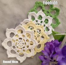 5pcs Lace Round cotton table place mat pad Cloth Handmade crochet placemat cup mug Christmas tea coffee coaster doily kitchen