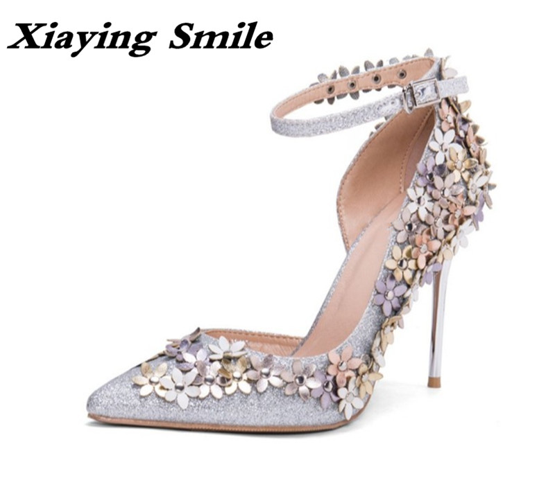 Xiaying Smile Woman Pumps Women Shoes Spring Summer Thin Heel Wedding Party Elegant Pointed Toe Buckle Strap Flowers Women Shoes xiaying smile summer woman sandals fashion women pumps square cover heel buckle strap bling casual concise student women shoes