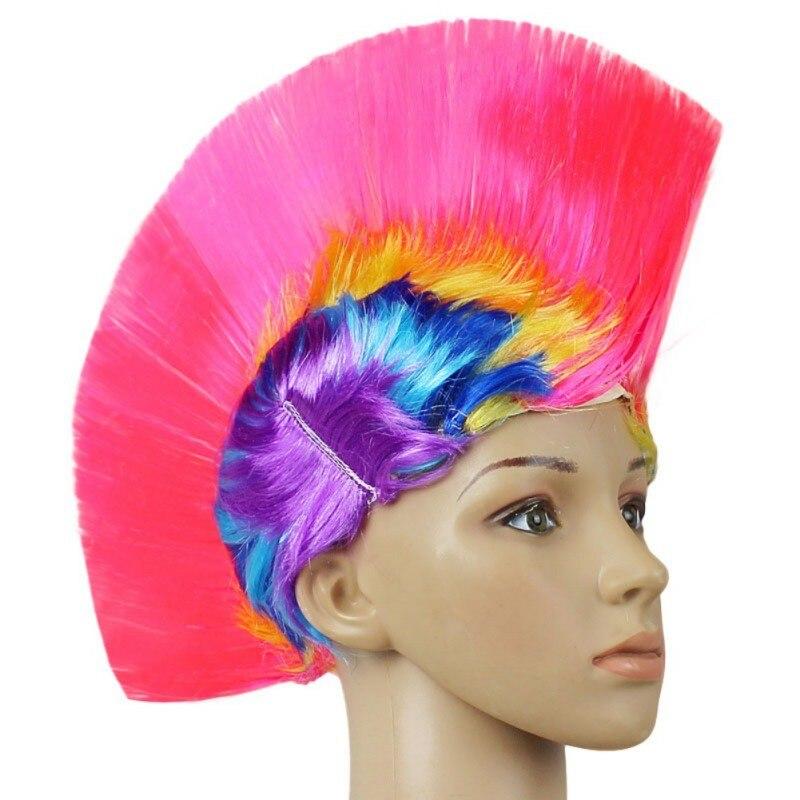 Hot Rainbow Mohawk Hair Wig Fancy Costume Punk Rock Wigs Halloween Cosplay Party 7