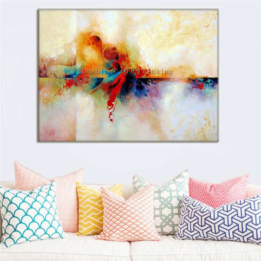new hand painted abstract landscape oil painting hang paintings modern colorful view picture. Black Bedroom Furniture Sets. Home Design Ideas