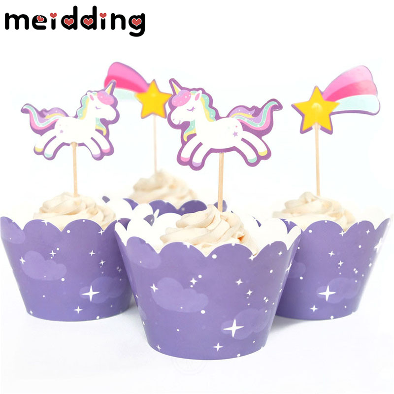 MEIDDING 24pcs Cute Rainbow Unicorn Meteor Cupcake Wrappers Toppers Kids Children Birthday Party Decor Baby Shower Supplies