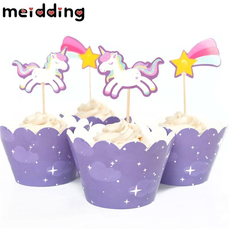 Meidding 24 шт. милые rainbow Unicorn Метеор Завертчицы топперы детей День рождения Декор Baby Shower поставки