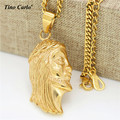 Tino Carlo Gold Plated Jesus Face Necklace Cuban Chain Religious Men Hip Hop Necklace Rap Boy Jewelry