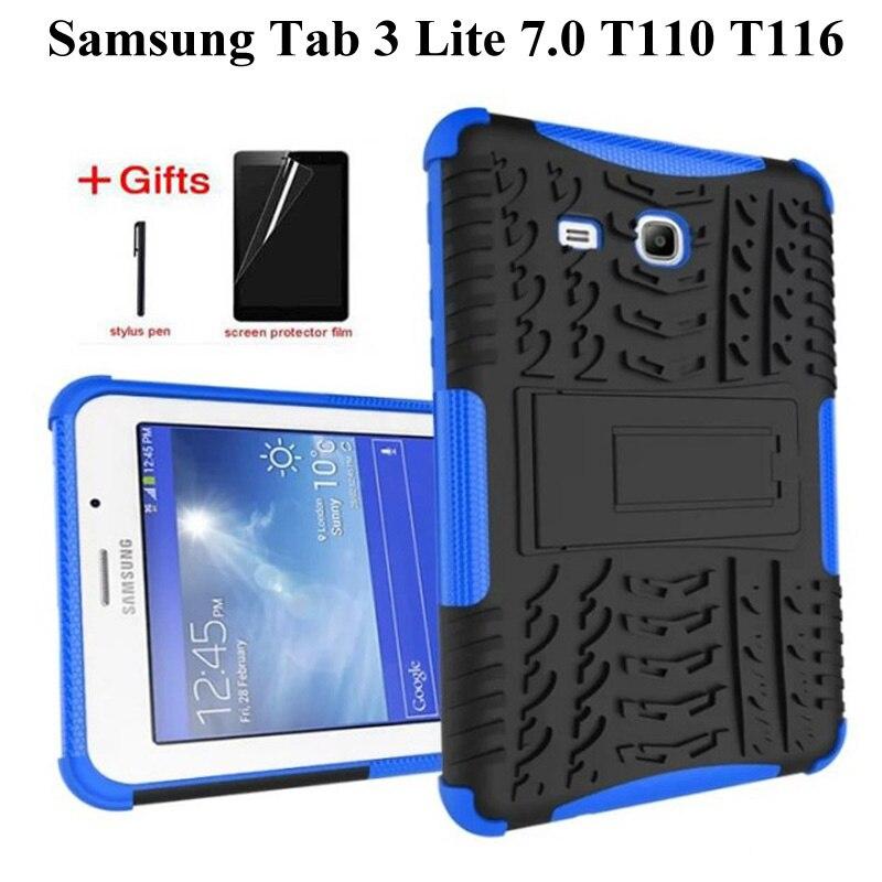 New Silicone Case For Samsung Galaxy Tab 3 Lite 7.0 T110 T111 7.0 Inch Cover For Samsung Tab E Lite 7 SM-T113 T116 Case+Film+Pen
