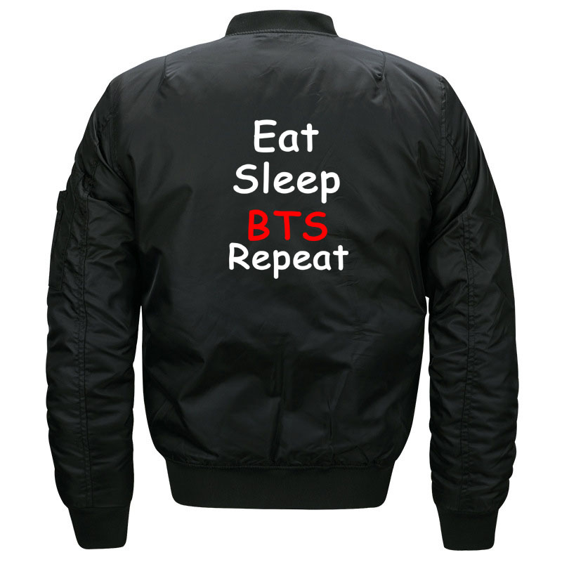 Cute Kpop BTS Aesthetic Bomber Jacket for Women and Men Kawaii Girls Eat Sleep BTS Repeat Quilted Bomber Jackets Plus Size S-5XL