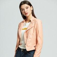 NXH leather jacket women plus size biker jacket pink Turn-down Collar pu faux leather coat autumn fashion outwear цены