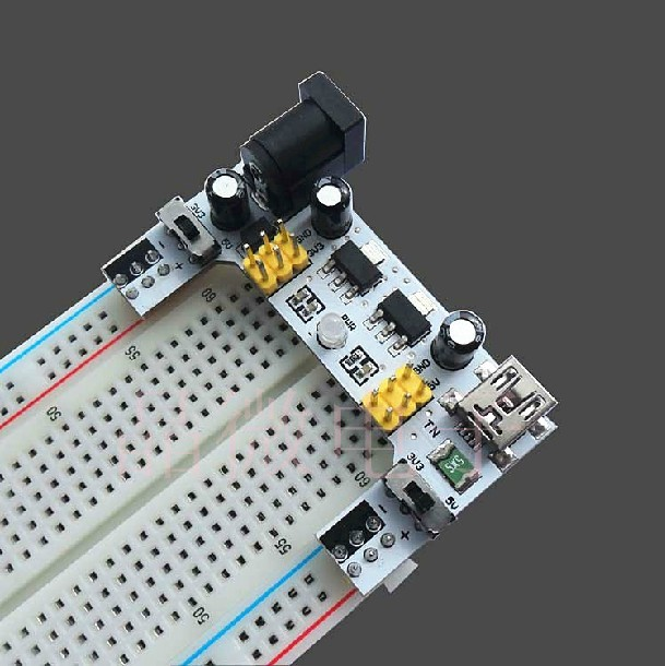 XD-42 Breadboard Dedicated Power Supply Module 2-Way 5V / 3.3V With 830 Ponits Soldless Breadboard Free Shipping