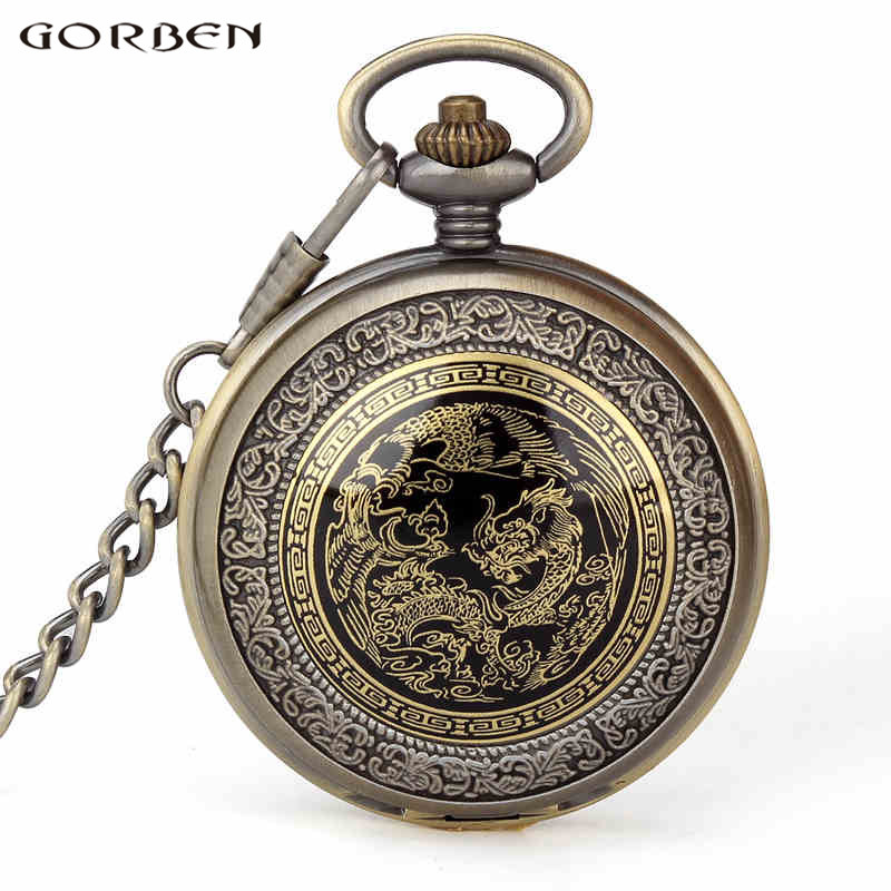 Bronze Quartz Pocket Watch Antique Men Watches Cool Chinese Dragon Pocket Watch Fob Chain Necklace Wonderful Gifts For Men Women old antique bronze doctor who theme quartz pendant pocket watch with chain necklace free shipping