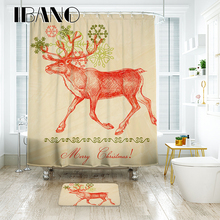 цена на IBANO Christmas Shower Curtain Customized Bath Curtain Waterproof Polyester Fabric Shower Curtains For The Bathroom With Hooks