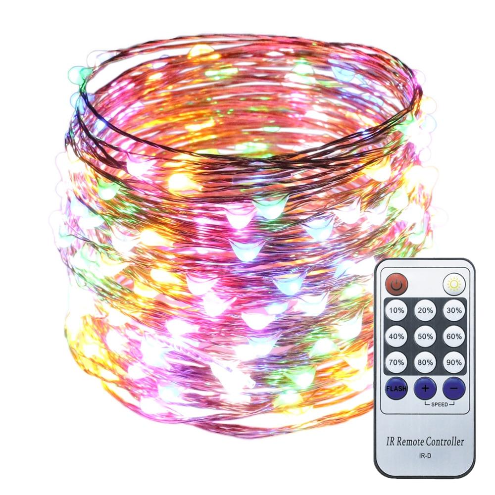 Con cable 33Ft 10M Alambre de cobre 100LED Luces estrelladas Luces decorativas de Navidad con adaptador con control remoto regulable