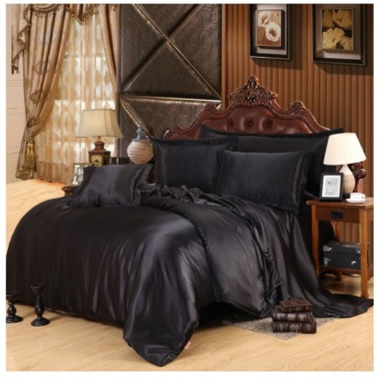 Silk Satin Bedding Set Super King Full Twin Black Sheets Doona Duvet Cover Bedspread Double Ed Bed In A Bag 5pcs Sets From Home