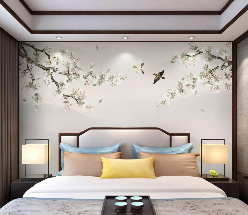 Beibehang Custom Papel De Parede 3D Flower Bird Background Wall Papers Home Decor Decoration Painting Wallpapers For Living Room