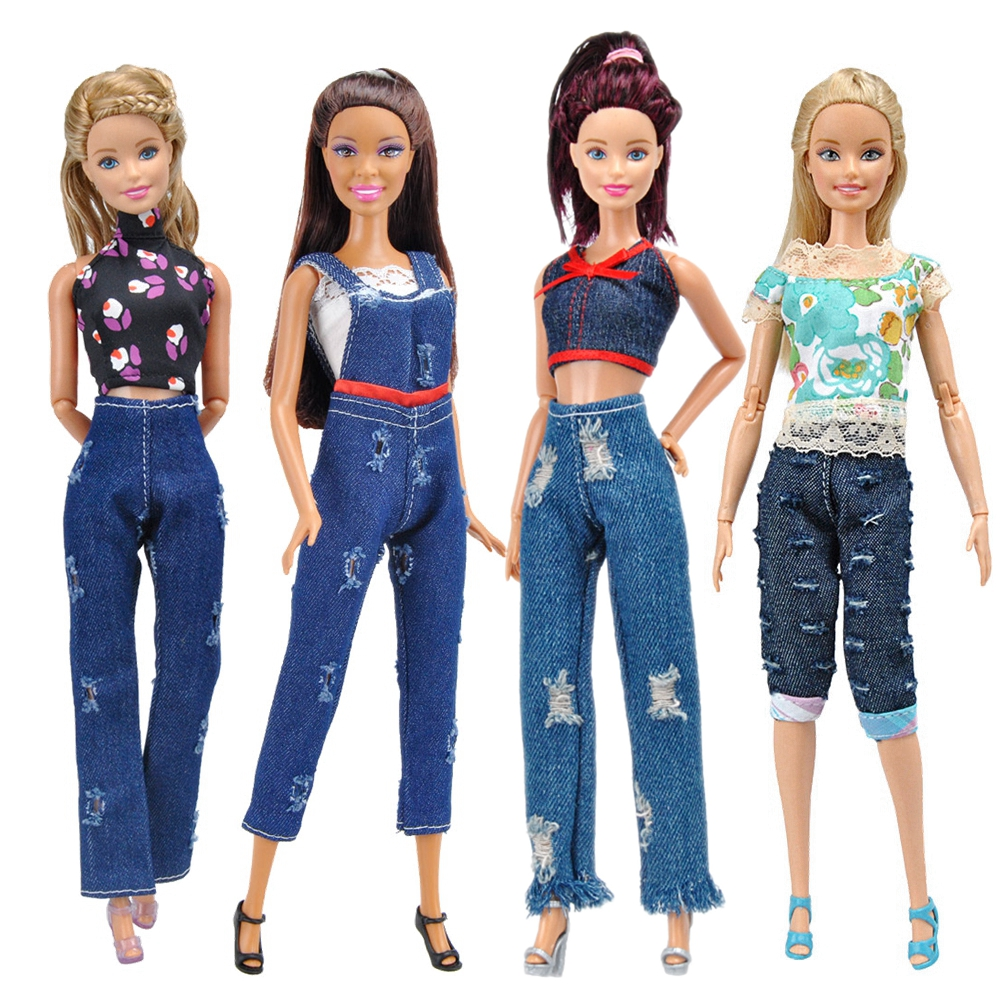 E ting handmade clothes for doll fashion t shirt hole jeans denim overalls street style girls suit for barbie accessories gifts
