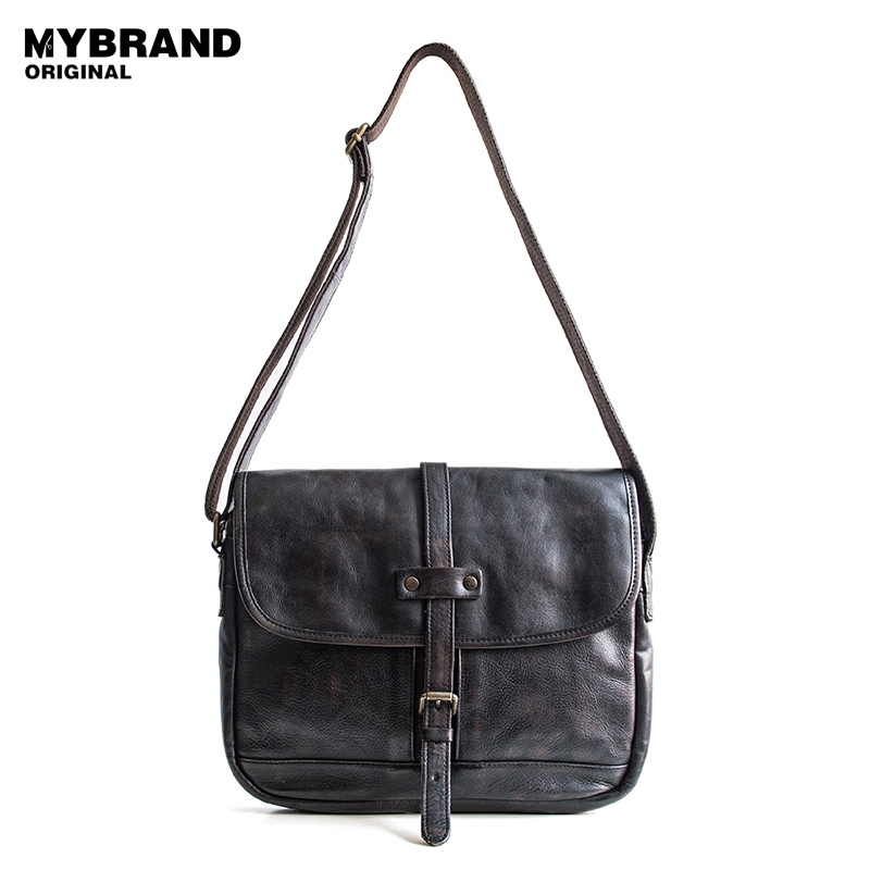 MYBRANDORIGINAL messenger bag men leather crossbody bag for men vintage genuine leather men shoulder bag men bag B89 augur men s messenger bag multifunction canvas leather crossbody bag men military army vintage large shoulder bag travel bags