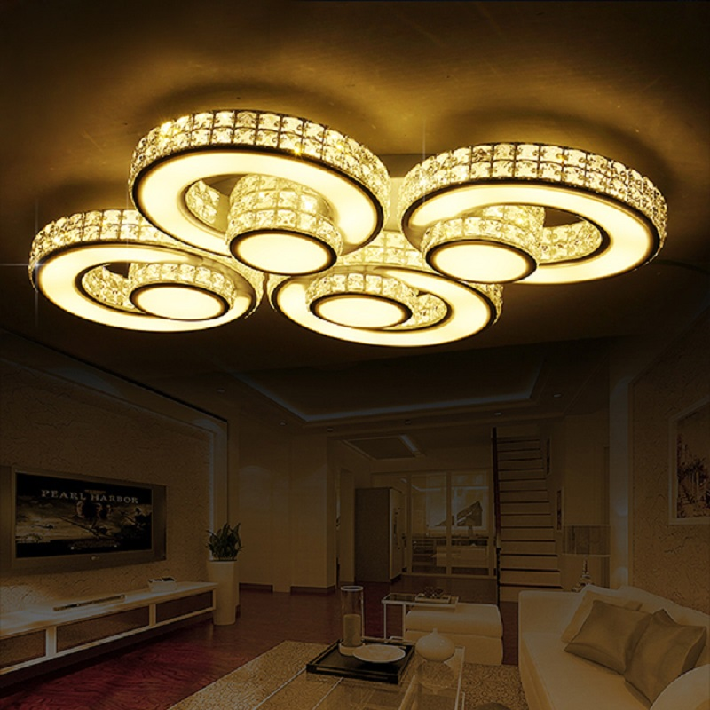 Modern LED Crystal Chandelier Lights Lamp For Living Room Cristal Lustre Chandeliers Lighting Pendant Hanging Ceiling Fixtures lustre flush mount led modern crystal ceiling lamp lights with 1 light for living room lighting free shipping