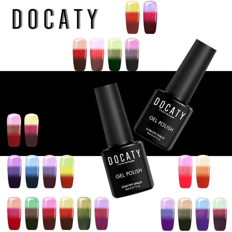 Docaty Nail Art Mood Change Nails Soak Off Thermal Uv Chameleon Gel Varnish Soak Off Temperature Change Lucky Color Uv/led Colours Are Striking Nails Art & Tools