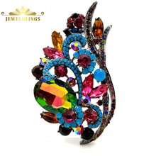 Vintage Multi Colored Rhinestone Large Foxtail Leaf Brooches Silver Tone Aurora Crystal Floral Statement Pin Dressy Jewelry