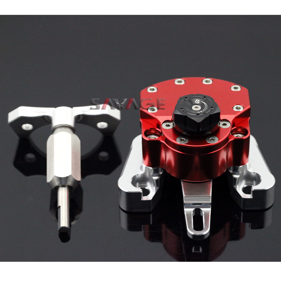 For DUCATI MONSTER 696 2008-2014 Red Motorcycle Reversed Safety Adjustable Steering Damper Stabilizer with Mount Bracket for ducati monster 696 2008 2014 black motorcycle reversed safety adjustable steering damper stabilizer with mount bracket
