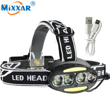 Ezk10 10000LM LED Head Lamp  4 Cree XM-L T6  2*COB HeadLamp 2*Red headLight +USB charger  Fishing Camping Hiking Light