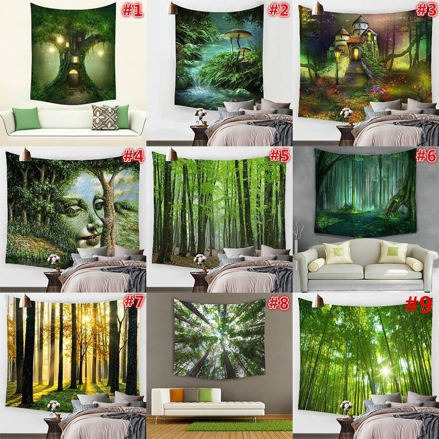 Hyha Spring BreathTapestry Psychedelic Polyester Stoff Bambus Grün Atmosphäre Wand Hängen Dekor Tischabdeckung Tapiz