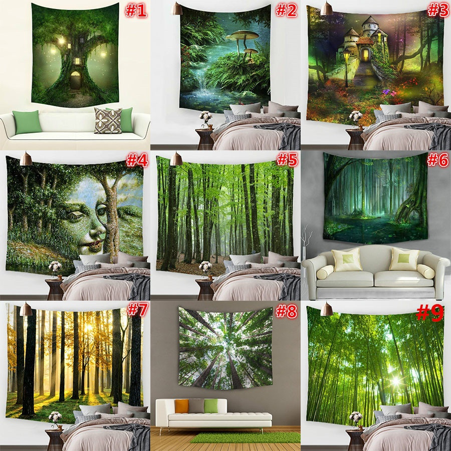 Hyha Spring's BreathTapestry Psychedelic Polyester Fabric Bamboo Green Atmosphere Wall Hanging Decor Table Cover Tapiz