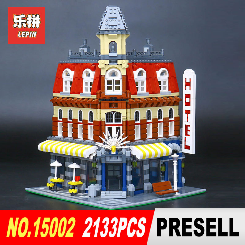 New LEPIN 15002 2133Pcs Cafe Corner Model Building Kits Blocks Kid DIY Educational Toy Children day Gift brinquedos 10182 new arrived abs three corner children toy edc hand spinner for autism and adhd anxiety stress relief child adult gift