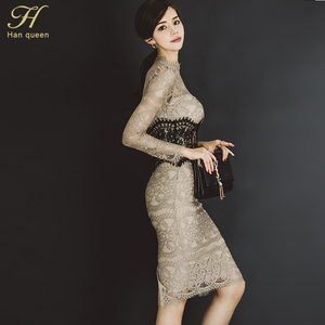 Image 4 - H Han Queen Women Elegant Sexy Lace Bodycon Vestidos 2019 Spring Hollow Out See Through Pencil Dress Patchwork Slim Sheath Dress