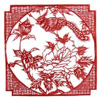 20cm Chinese Handicraft Hand Cutted Paper Cut Out Red Traditional Elegant Paper Cutting Art