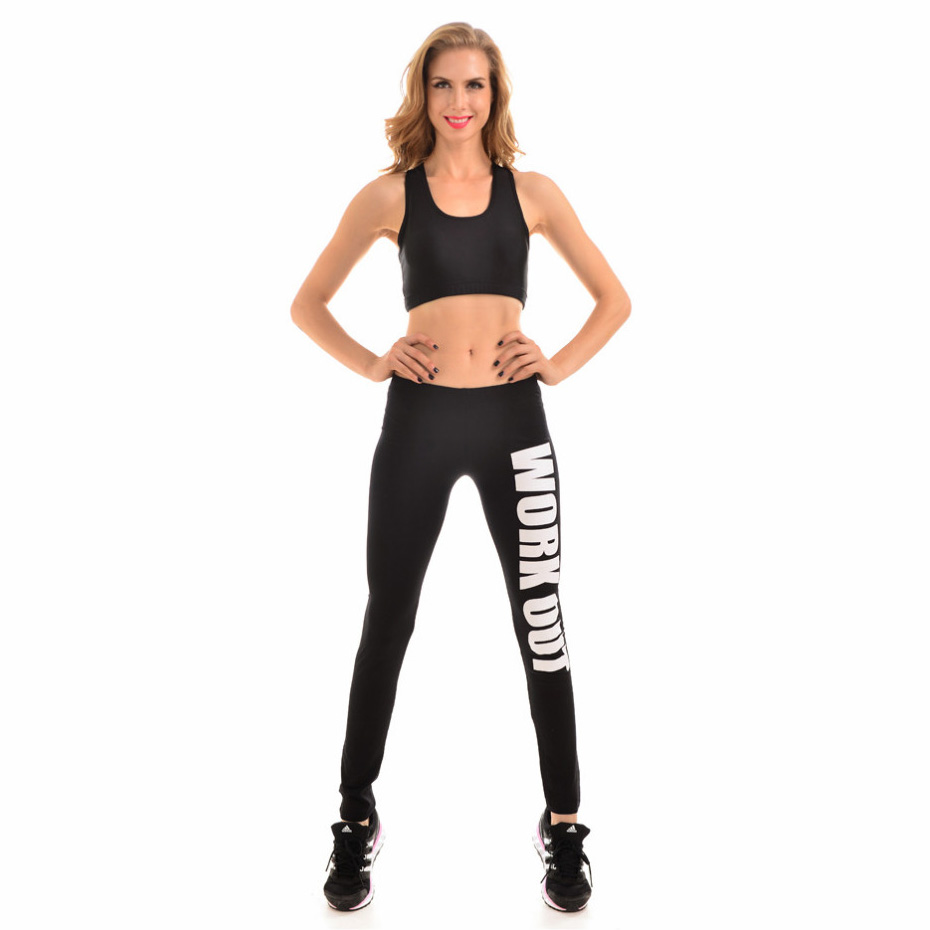New 9092 Sexy Girl GYM Slim Leggings Black White Work Out Letter Printed Running Fitness Sport Women Yoga Pants Plus Size