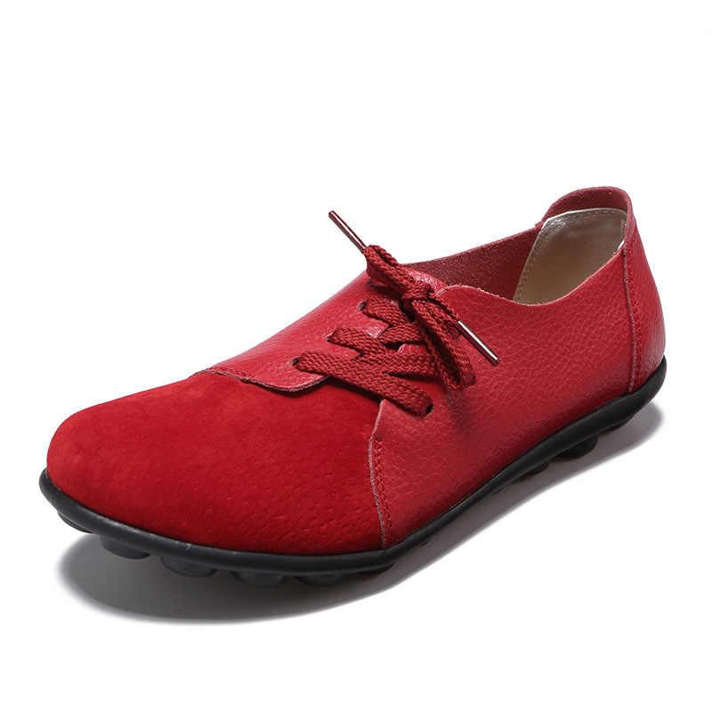 PLUS ขนาดผู้หญิงรองเท้า SLIP บน Loafers นุ่มของแท้หนังผู้หญิงพลัสขนาด 44 ผู้หญิงรองเท้า