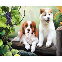 5D diy Diamond Embroidery 3d diamond painting Cross Stitch kits stickers round drill mosaic pattern Two dogs picture kids gift