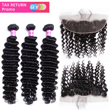 BY Malaysian Deep Wave Bundles With Frontal 100% Human Hair 3 Bundles With Closure Remy Hair Lace Frontal With Bundles(China)
