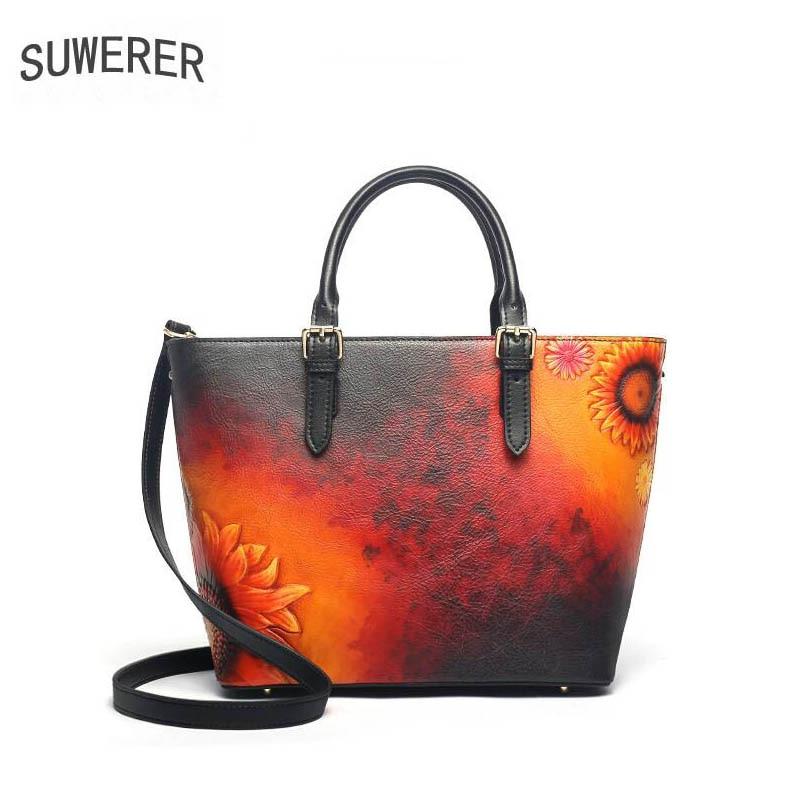 SUWERER 2019 New Women Genuine Leather bags luxury handbags women bag designer Cowhide Embossed bag women leather tote bag