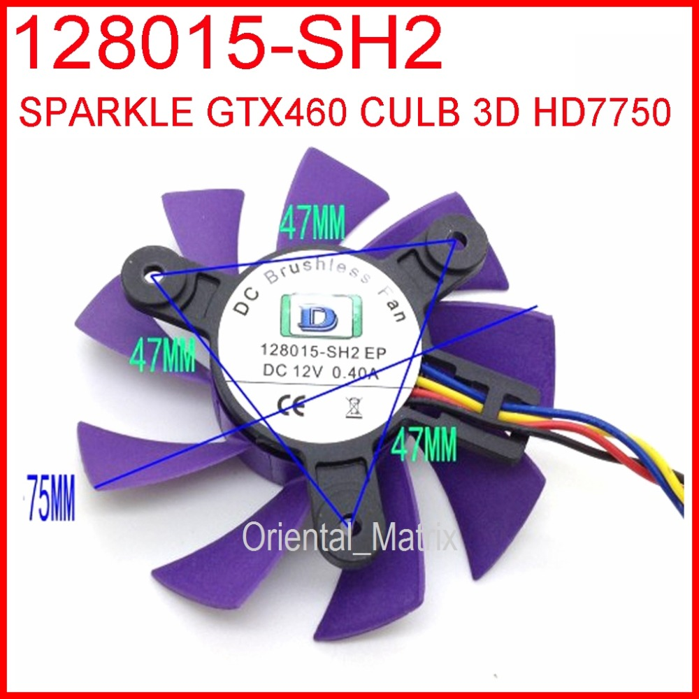 Free Shipping 128015-SH2 12V 0.40A 75mm 47x47x47mm For SPARKLE GTX460 CULB 3D HD7750 Graphics Card Cooling Fan 4Pin 4Wire