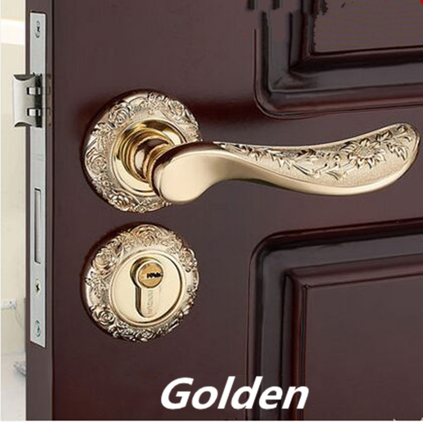 Modern fashion golden carved rose door lock mechanical mute split lock, green bronze bedroom, study kitchen solid wood door lock modern simple fashion interior room door lock black split mechanical mute solid wood bedroom door lock creative bird handle lock