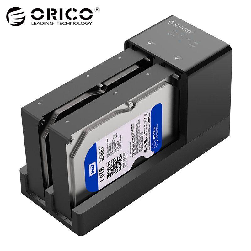 ORICO 2.5 3.5 SATA Hdd Estação de Ancoragem Clone Desligada Super Speed USB 3.0 Hard Drive Suporte 10 tb 2 bay preto 6528US3-C