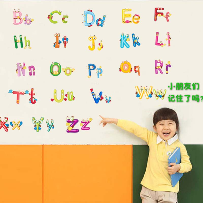 Creatove A Z Alphabetu0026Animals Home Decoration Letters English Vinyl Mural Wall  Stickers Decals Nursery Kids Room Wallpaper Decor In Wall Stickers From  Home ...
