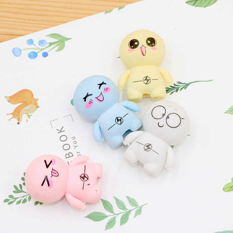 2 pcs/lot Cute Big head doll rubber eraser kawaii stationery school supplies papelaria gift toy for kids penil eraser