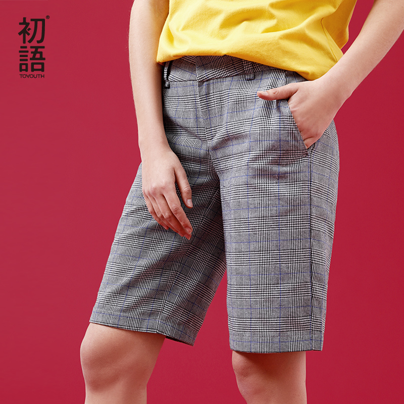 Toyouth Plaid   Shorts   Women Summer 2019 Korean Style   Shorts   Fashion High Waist Harajuku Straight Lattice   Shorts