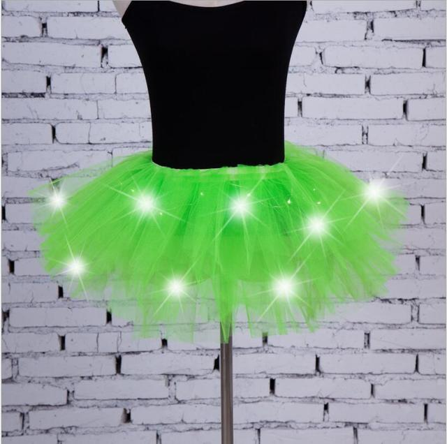 4157aee5e8 2018 New Voile Fashion Sexy Women Led Light Up Neon Fancy Rainbow Mini Tutu  Halloween Costume Adult Skirt Ball Gown